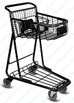 EXpress3650 metal shopping cart with child seat and lower tray from VersaCart Systems